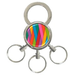 Colorful Lines Pattern 3 Ring Key Chains