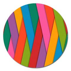Colorful Lines Pattern Magnet 5  (Round)
