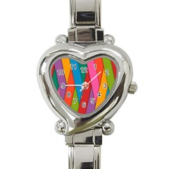 Colorful Lines Pattern Heart Italian Charm Watch