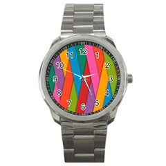 Colorful Lines Pattern Sport Metal Watch