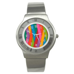 Colorful Lines Pattern Stainless Steel Watch