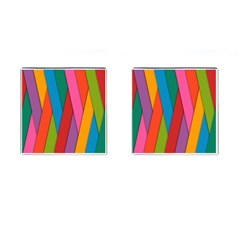 Colorful Lines Pattern Cufflinks (Square)