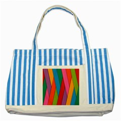 Colorful Lines Pattern Striped Blue Tote Bag
