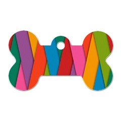 Colorful Lines Pattern Dog Tag Bone (Two Sides)