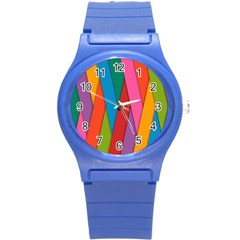Colorful Lines Pattern Round Plastic Sport Watch (S)