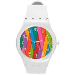 Colorful Lines Pattern Round Plastic Sport Watch (M)