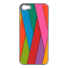 Colorful Lines Pattern Apple iPhone 5 Case (Silver)
