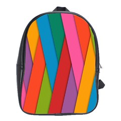 Colorful Lines Pattern School Bags (XL)