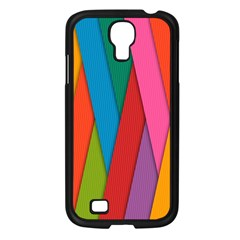 Colorful Lines Pattern Samsung Galaxy S4 I9500/ I9505 Case (Black)
