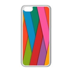 Colorful Lines Pattern Apple iPhone 5C Seamless Case (White)