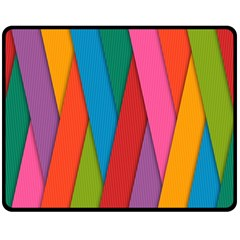 Colorful Lines Pattern Double Sided Fleece Blanket (Medium)