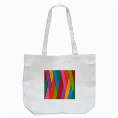 Colorful Lines Pattern Tote Bag (White)