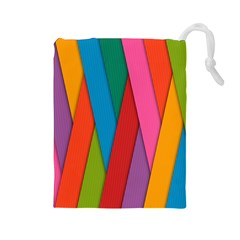 Colorful Lines Pattern Drawstring Pouches (Large)