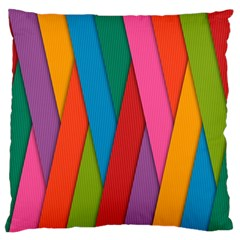 Colorful Lines Pattern Large Flano Cushion Case (One Side)