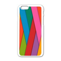 Colorful Lines Pattern Apple iPhone 6/6S White Enamel Case