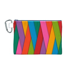 Colorful Lines Pattern Canvas Cosmetic Bag (m)