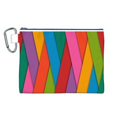 Colorful Lines Pattern Canvas Cosmetic Bag (L)