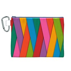 Colorful Lines Pattern Canvas Cosmetic Bag (XL)