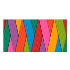 Colorful Lines Pattern Satin Shawl