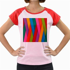 Colorful Lines Pattern Women s Cap Sleeve T Shirt