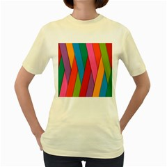 Colorful Lines Pattern Women s Yellow T Shirt