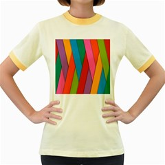 Colorful Lines Pattern Women s Fitted Ringer T-Shirts