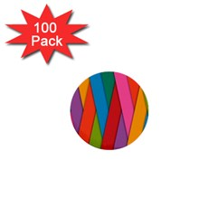 Colorful Lines Pattern 1  Mini Buttons (100 Pack)