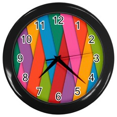 Colorful Lines Pattern Wall Clocks (Black)