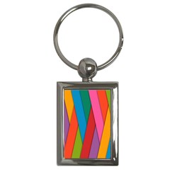 Colorful Lines Pattern Key Chains (Rectangle)