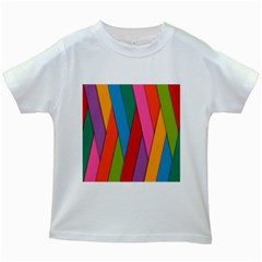 Colorful Lines Pattern Kids White T Shirts