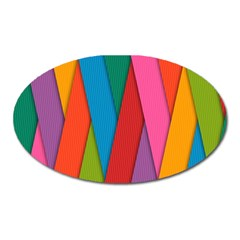 Colorful Lines Pattern Oval Magnet
