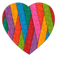 Colorful Lines Pattern Jigsaw Puzzle (heart)