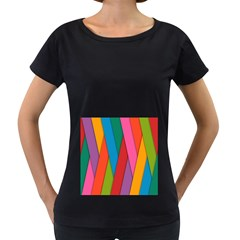 Colorful Lines Pattern Women s Loose-Fit T-Shirt (Black)