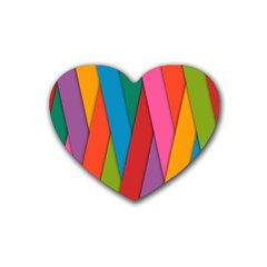 Colorful Lines Pattern Rubber Coaster (heart)