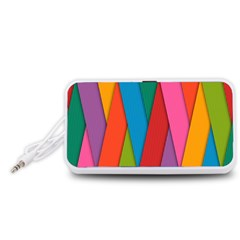 Colorful Lines Pattern Portable Speaker (White)