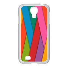 Colorful Lines Pattern Samsung Galaxy S4 I9500/ I9505 Case (white)