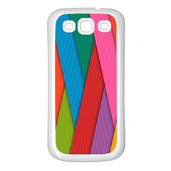 Colorful Lines Pattern Samsung Galaxy S3 Back Case (White)