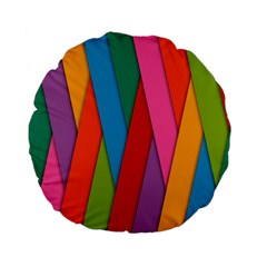 Colorful Lines Pattern Standard 15  Premium Flano Round Cushions