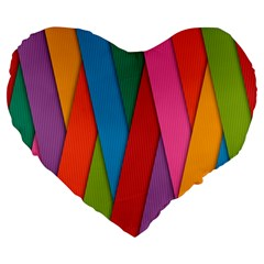 Colorful Lines Pattern Large 19  Premium Flano Heart Shape Cushions