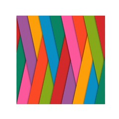 Colorful Lines Pattern Small Satin Scarf (Square)