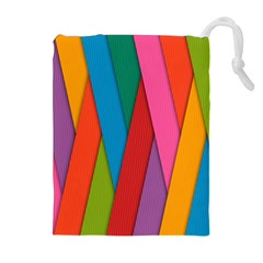 Colorful Lines Pattern Drawstring Pouches (extra Large)