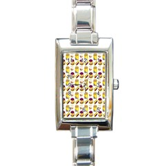 Hamburger And Fries Rectangle Italian Charm Watch