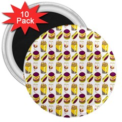 Hamburger And Fries 3  Magnets (10 Pack)
