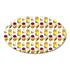 Hamburger And Fries Oval Magnet