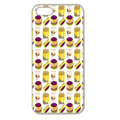 Hamburger And Fries Apple Seamless iPhone 5 Case (Clear)