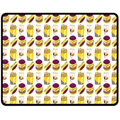 Hamburger And Fries Double Sided Fleece Blanket (Medium)