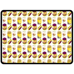 Hamburger And Fries Double Sided Fleece Blanket (Large)