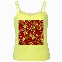 Floral Pattern Background Yellow Spaghetti Tank