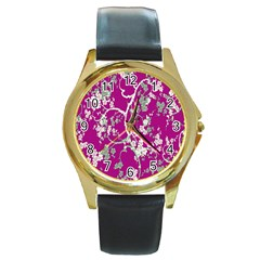 Floral Pattern Background Round Gold Metal Watch