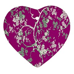 Floral Pattern Background Heart Ornament (two Sides)